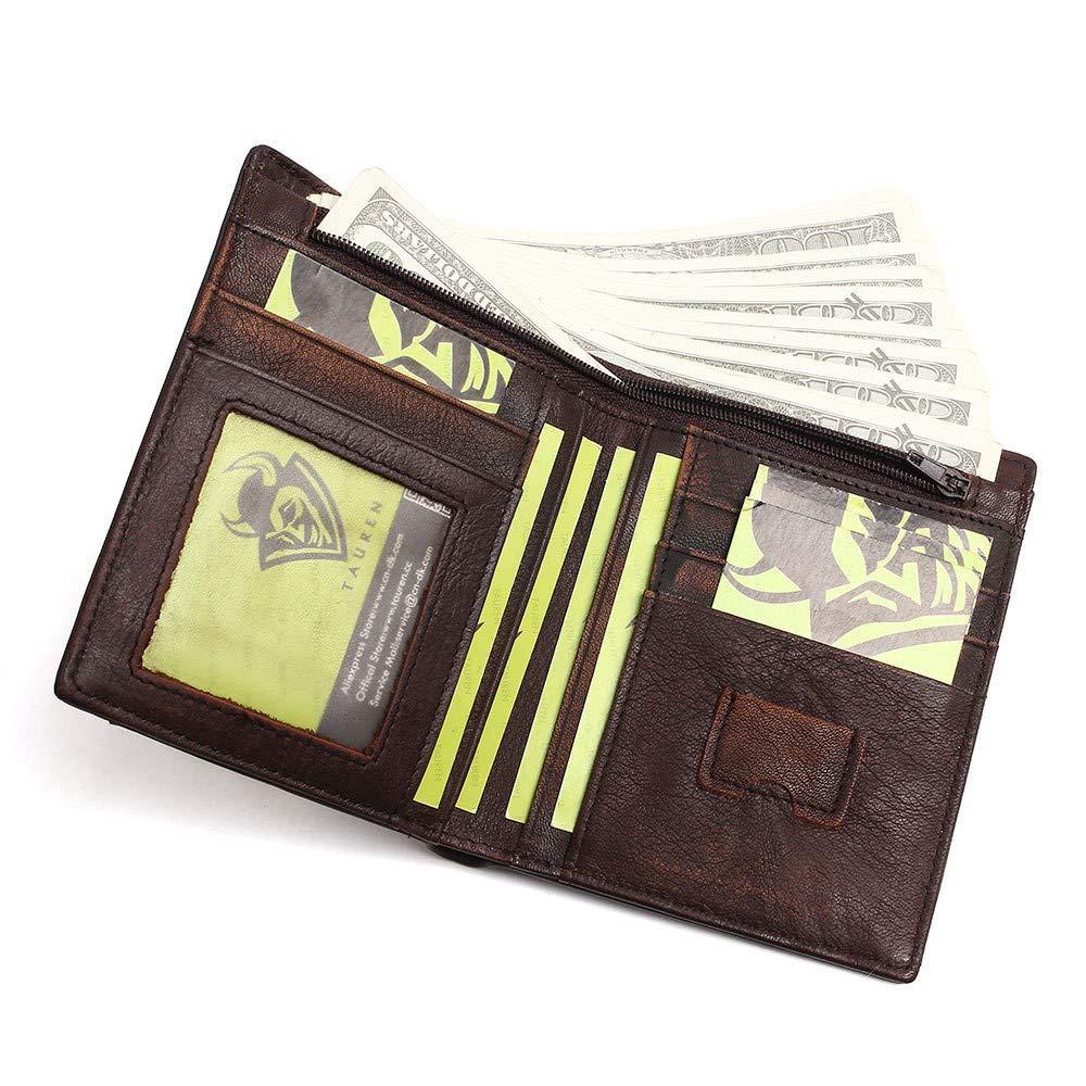 JTSYHLos Hombres de Cuero Bolso Retro Top Cuero 2 Fold Wallet,Dark Brown: Amazon.es: Equipaje