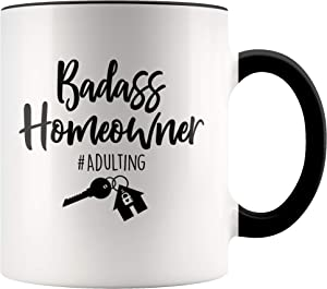 YouNique Designs First Time Homeowner Mug, 11 Ounces, Housewarming Gifts for New (Black Handle)