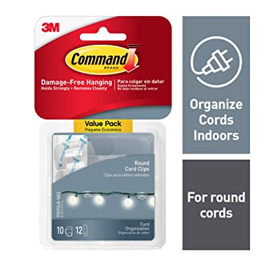 Command Clear Round Cord Clips, 4-packages (40 clips total), Indoor Use, Organize Damage-Free (17017CLR-10ES)