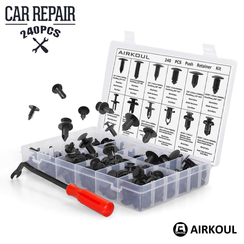 240pcs Auto Push Retainer Assortment Kit Car Nylon Shield Pin Rivet Fasteners