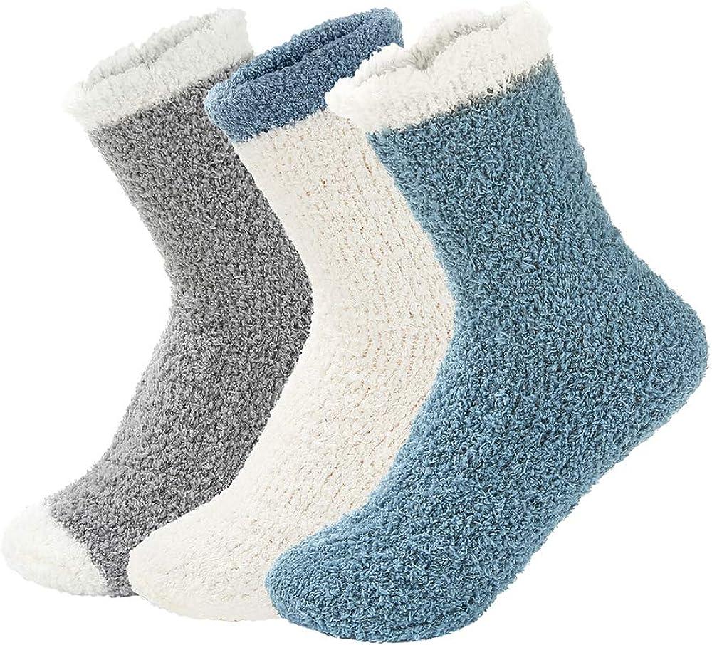 Century Star Womens Fuzzy Fluffy Cozy Warm Super Soft Slipper Socks Microfiber 3-8 Pairs Home Socks