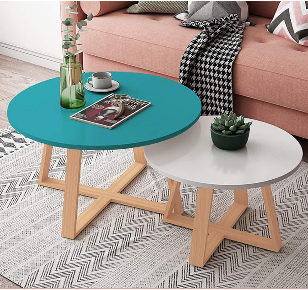 Amazon Com Living Room Coffee Table Set Of 2 Round Side Table For Small Spaces Nesting Tables Wood White Green 19 7 27 6 Furniture Decor