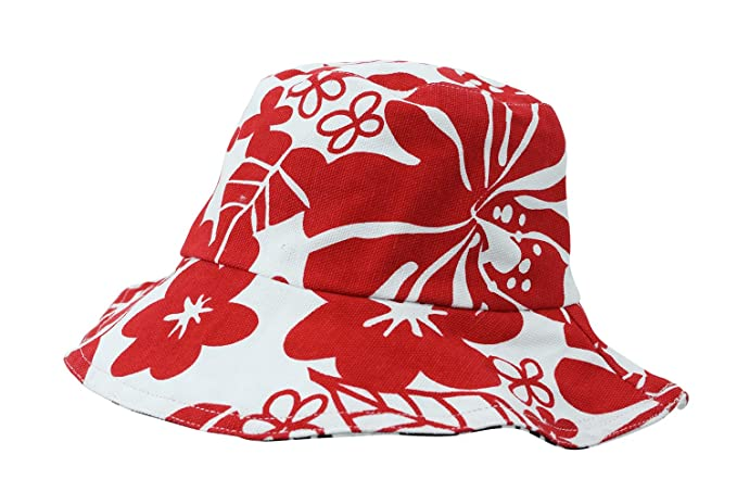 Image Unavailable. Image not available for. Color  Beach Vacation Hawaiian  Flower Red and Black Reversible Bucket Hat 9dbef8f0ee2