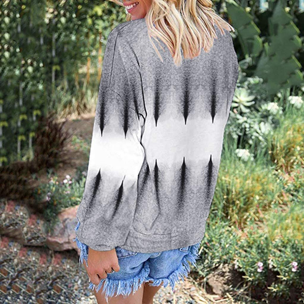 FAPIZI Womens Sweatshirts Fashion Tie Dye Printed O Neck Long Sleeve Gradient Color Loose Pullover Tops