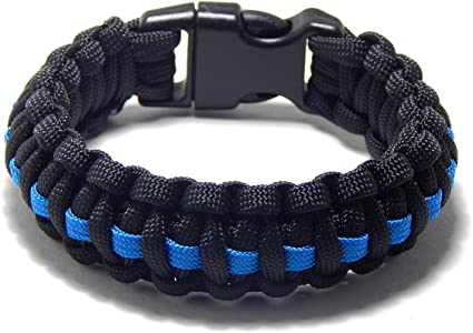 Amazon.com : Paracord Survival Bracelet Black Thin Blue Line ...
