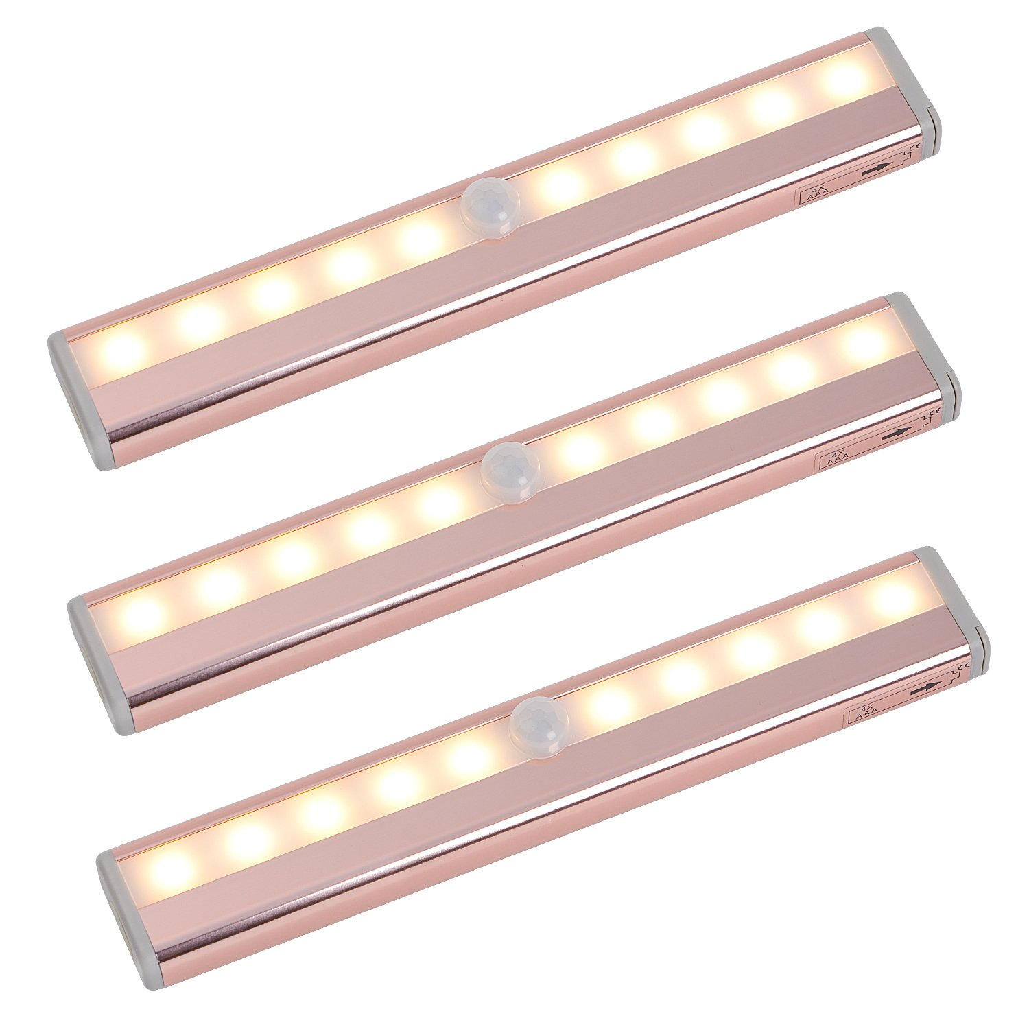Zoeson Motion Sensing 3-pack Closet Light,10 LED Warm Color Under Cabinet Light