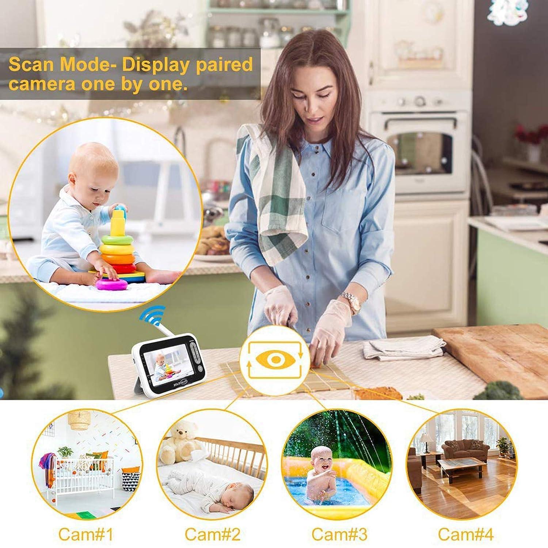 Temperatur/überwachung Energiesparmodus automatischer Nachtsicht JSLBtech Video Babyphone mit kamera 4,3 LCD Bildschirm Hineinzoomen Gegensprechfunktion Unterst/ützung mehrerer Kameras