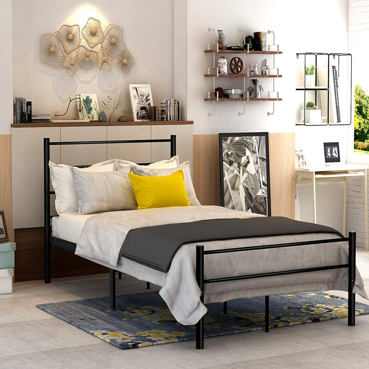 Metal Bed Twin Size with Headboard and Footboard Mattress Foundation Steel Slat Support Black for Kids DUMEE