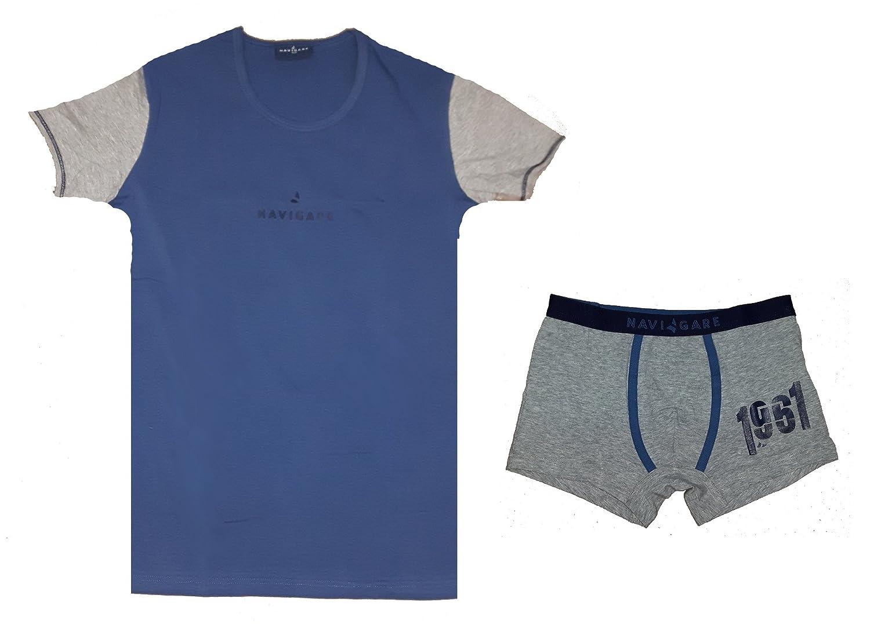 completo intimo ragazzo t-shirt girocollo + boxer NAVIGARE cotone elasticizzato art. 12116 jeans)