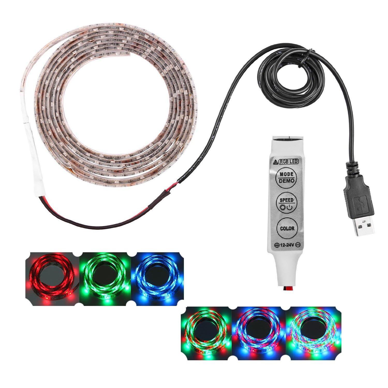 Lemonbest 2m 6.5ft 120leds Resin Flexible Color Changing USB LED Strip Lights RGB 3528smd 5V Waterproof Multi colored