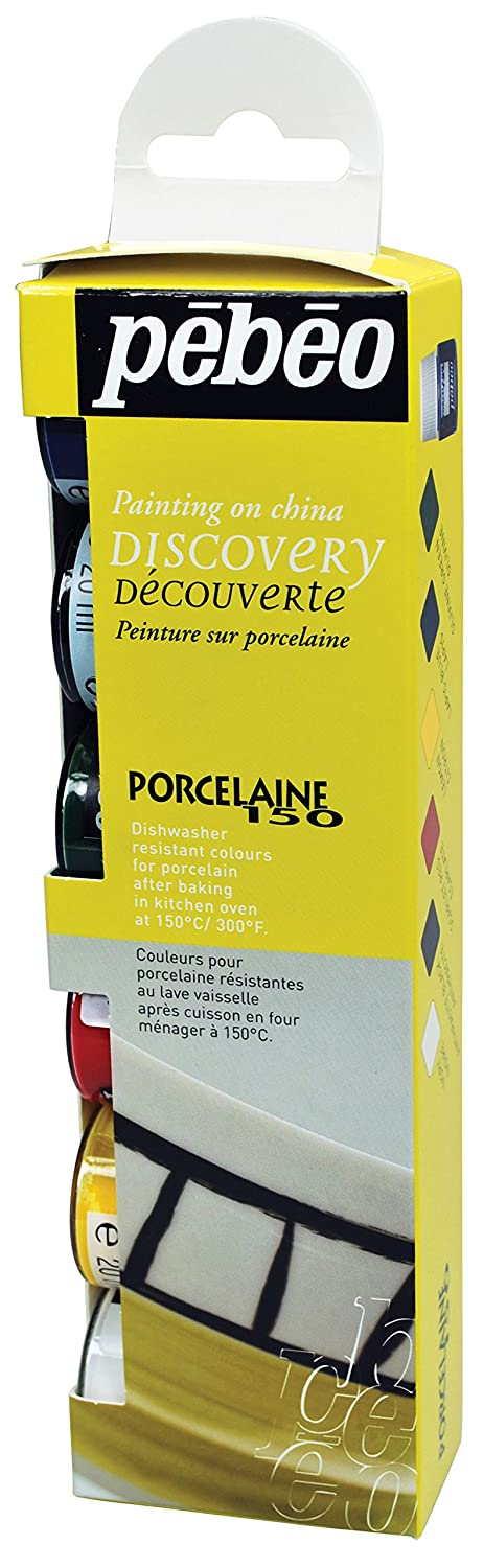 Pebeo 4-Piece 20ml Porcelaine 150 China Paint, Discovery Collection of 6 Assorted 20-Milliliter Colors,Assorted 753403