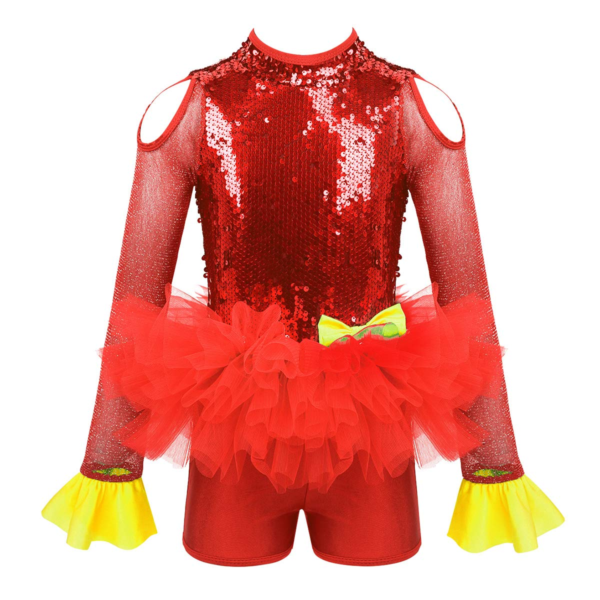 Agoky Kids Girls Sequins Ballet Dance Tutu Dress Jazz Latin Street Stage Performance Costume Athletic Outfits