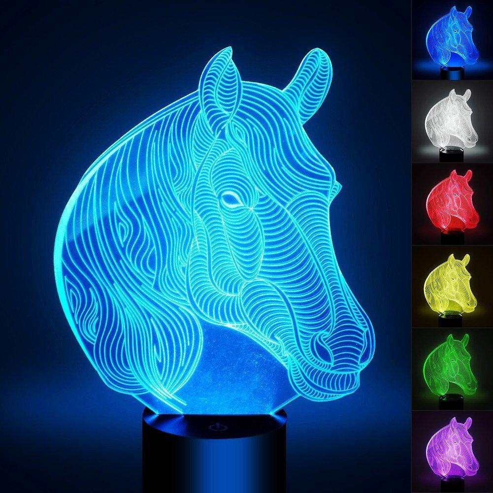 Horse Light, YKL WORLD 3D Illusion Desk Table Lamp, Nightlight for Kids, Smart Touch USB Powered 7 Color Change Mood Lighting Bedroom Decor