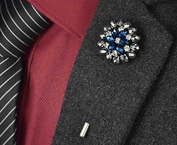USIX 9PC Pack-Handmade Men's Lapel Pin Rhinestone Crystal Flower Decor  Boutonniere Pin for Suit Wedding Groom Groomsmen Brooch Rose Boutonniere