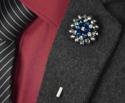 dddede8b831 USIX 9PC Pack-Handmade Men's Lapel Pin Rhinestone Crystal Flower Decor Boutonniere  Pin for Suit