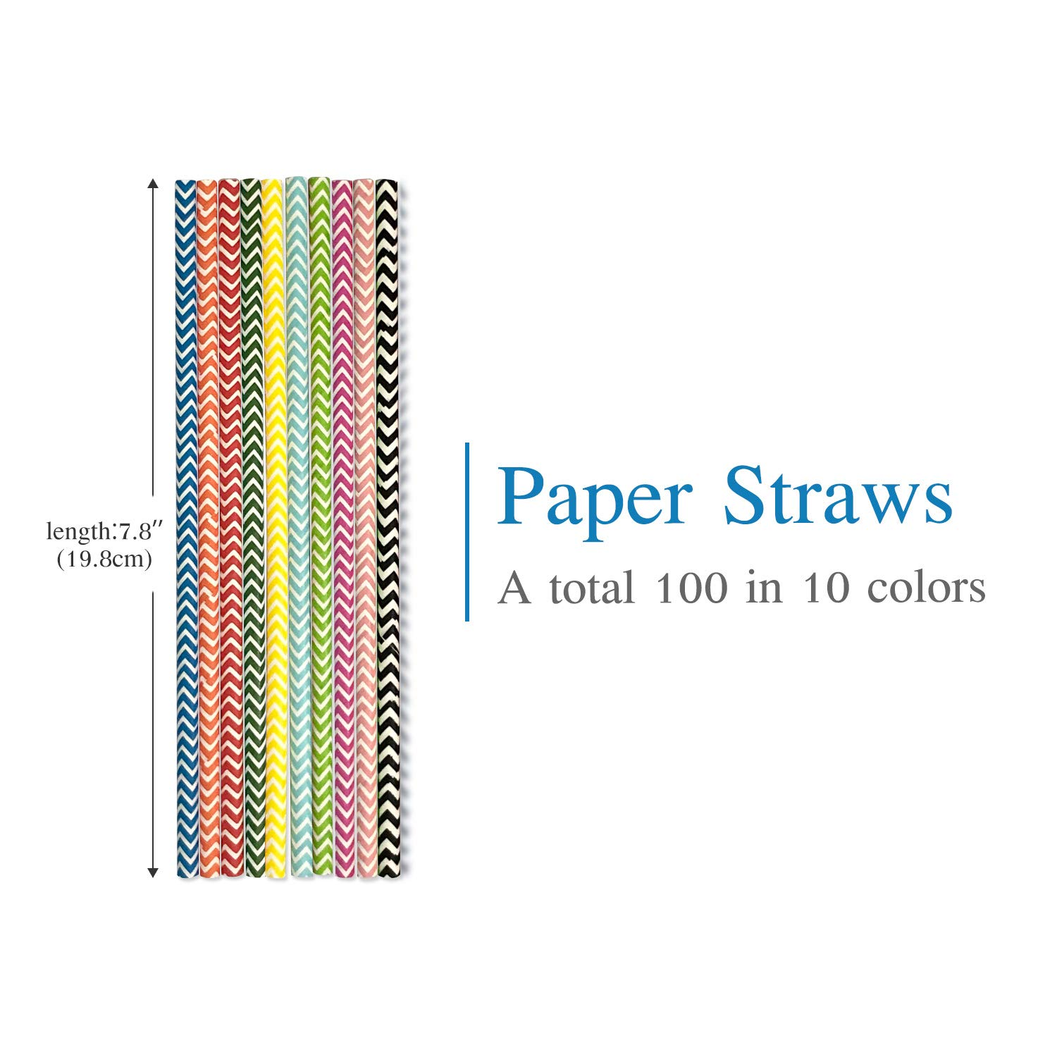 Paper Drinking Straws from Eco-Friendly Recyclable Kraft Paper 100Pcs,Great for Cocktails Cold Drinks and Juices,Suitable for Parties Weddings and All Occasions