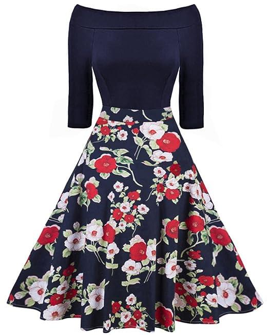 ZAFUL Mujer Vintage Vestido Anos 50 Vestidos de Fiesta sin Hombro y Mangas Medias Falda Impresion