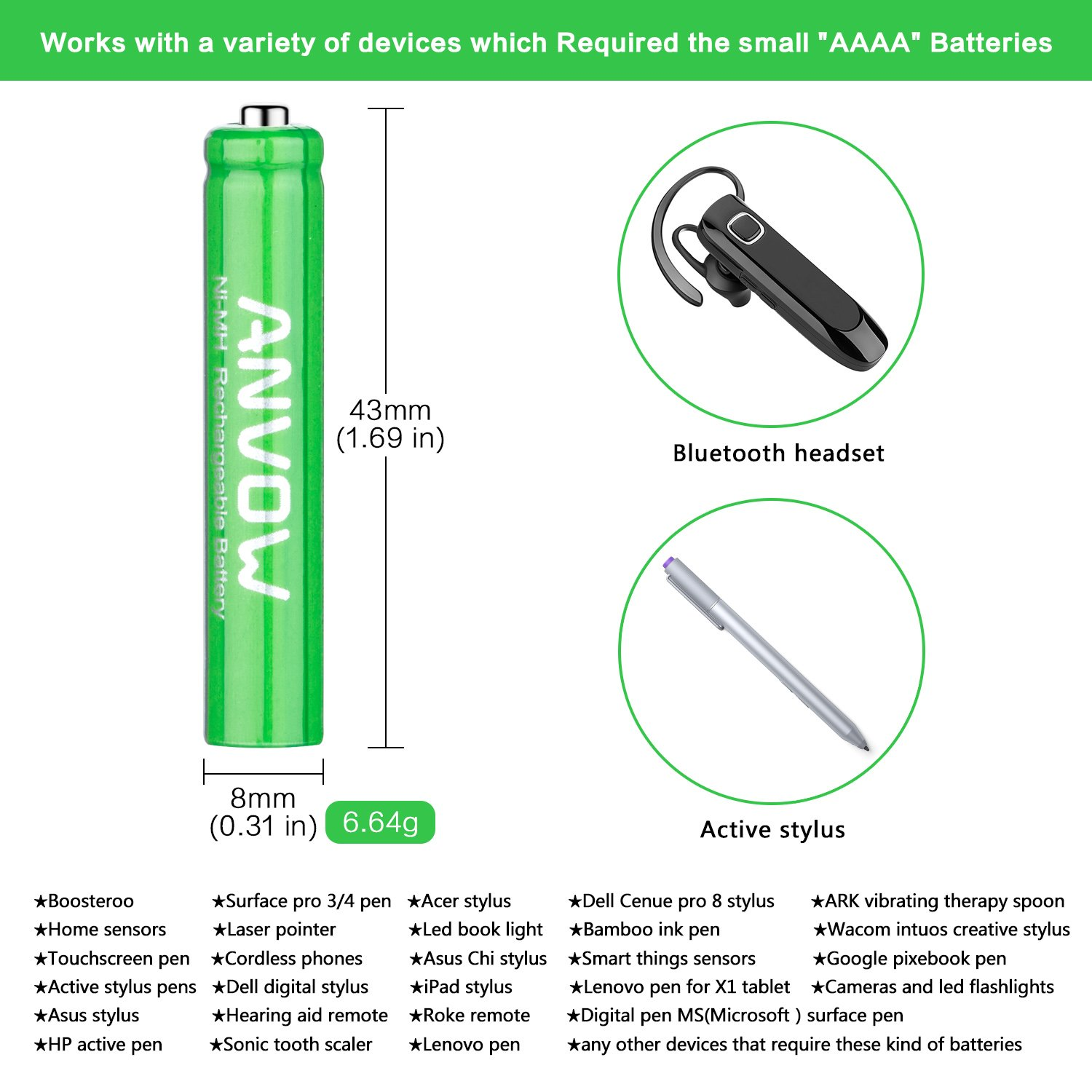 AAAA Batteries, ANVOW Rechargeable AAAA Batteries for Surface Pen,  Rechargeable AAAA Battery for