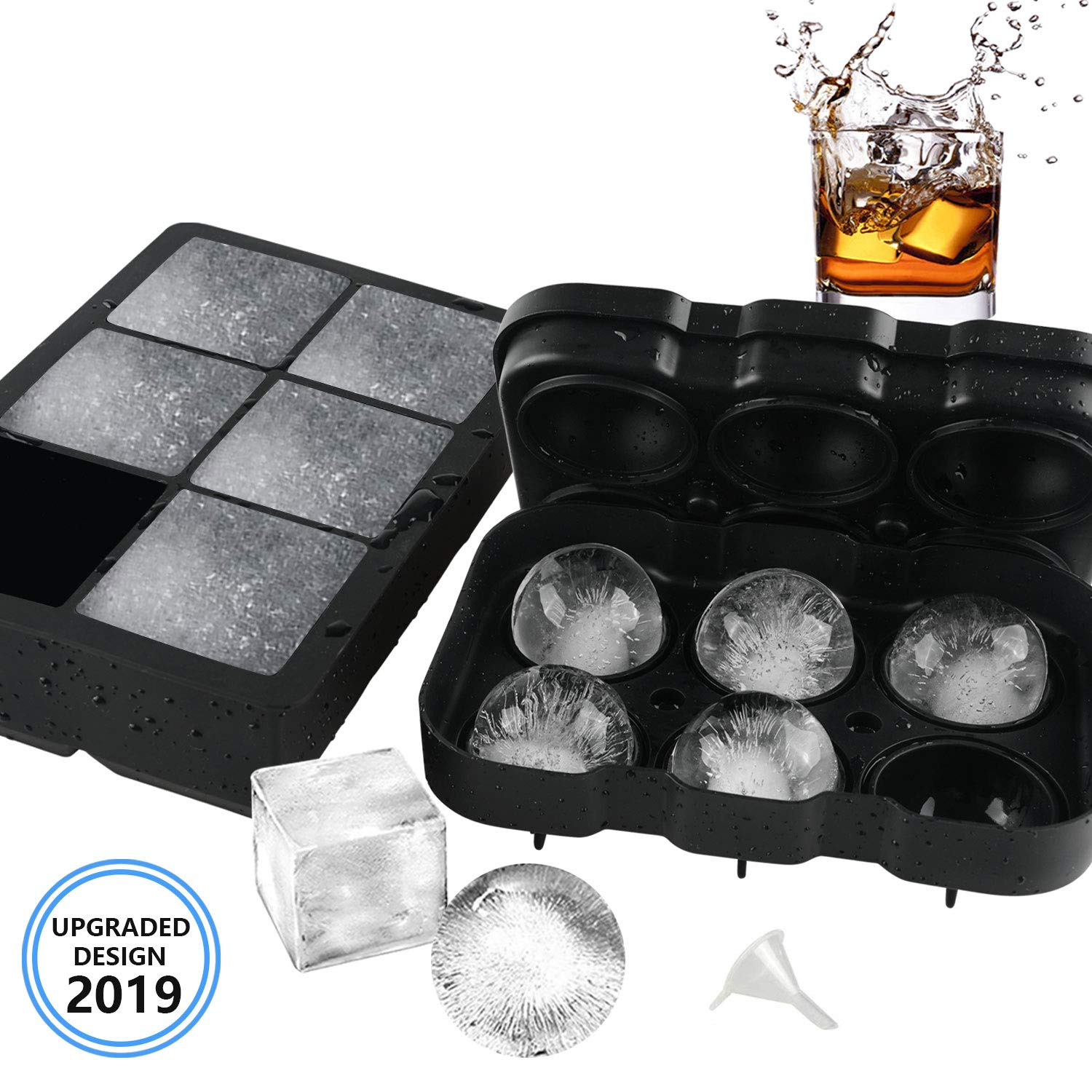 VOLOOP Ice Cube Trays Silicone | 2 Inch Large Sphere Round Cocktail Ice Ball maker & Square Ice Cube Molds for Whiskey | Upgraded Design Preventing Leakage | Reusable BPA Free Set of 2 & free funnel