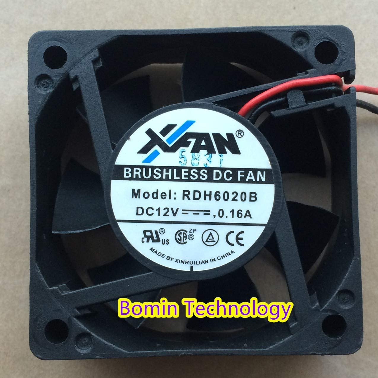 Bomin Technology for XFAN RDH6020B 12V 0.16A 2 Wire 6CM high Wind Dual Ball Cooling Fan