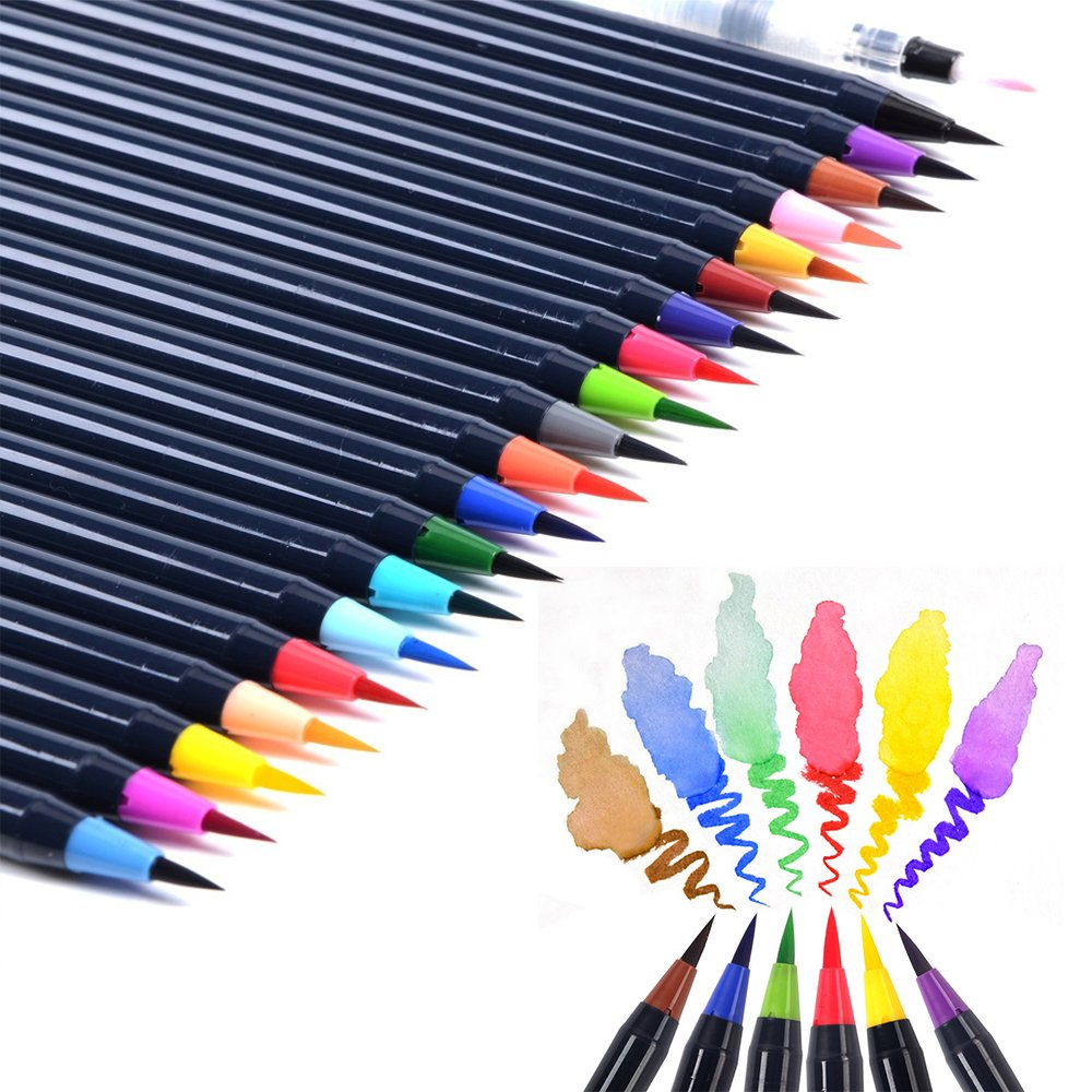 Purewing Watercolor Brush Pens 20 Colors Water Color Markers Professional Watercolor Pens for Painting, Drawing, Coloring & More