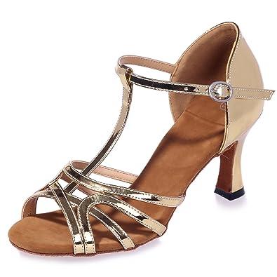 Talón Lentejuelas Toes Mujer Zapatos Elobaby Con De Peep Baile gBnxRwq