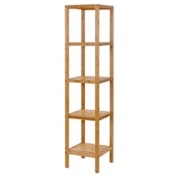 SONGMICS 100  Bamboo Bathroom Shelf 5 Tier Multifunctional Storage Rack  Shelving Unit UBCB55Y. Amazon com  SONGMICS 100  Bamboo Bathroom Shelf 5 Tier