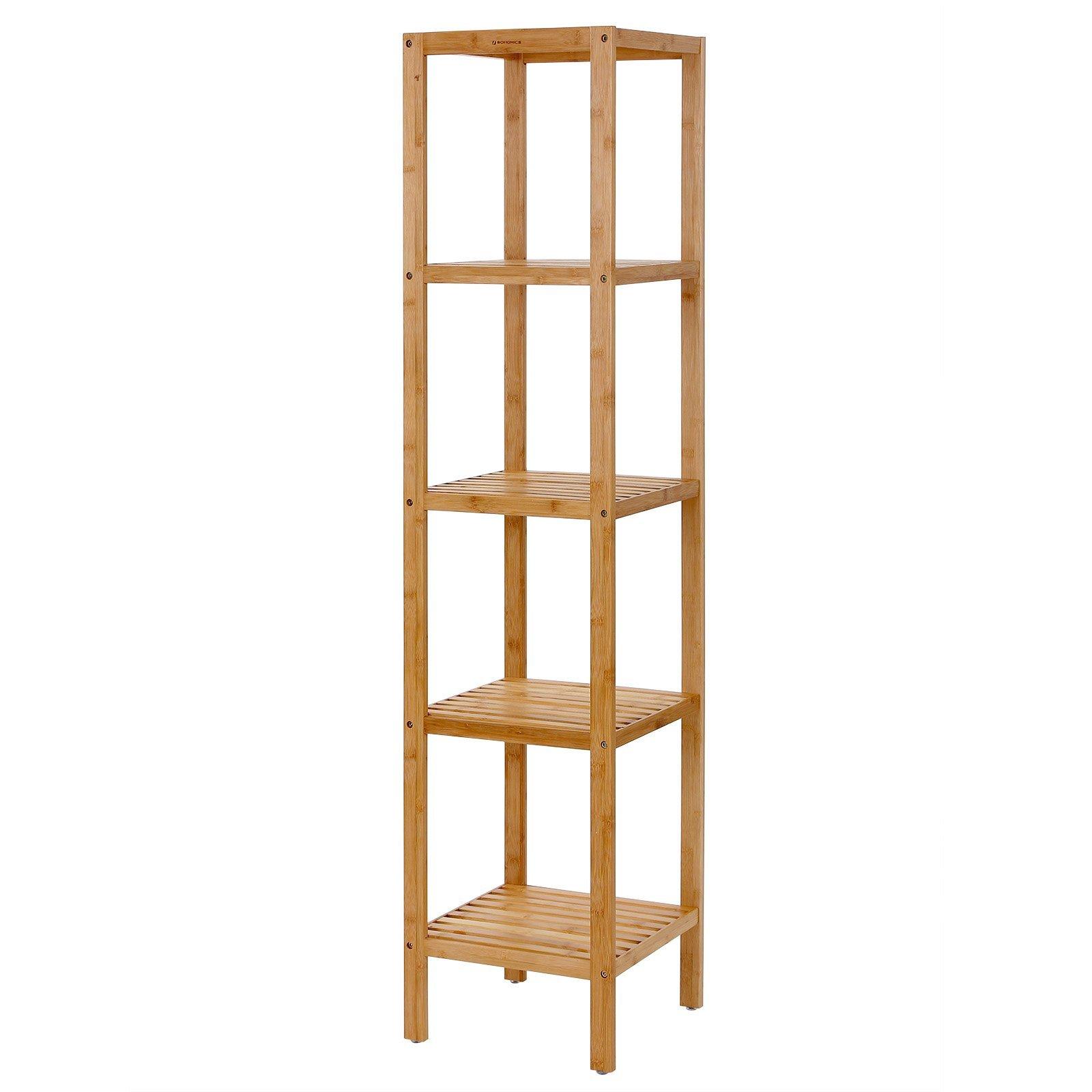 SONGMICS Narrow Shelving Unit Bathroom Shelf 5-Tier Multifunctional Storage Rack 100% Bamboo Wood Corner Rack for Kitchen Livingroom Bedroom UBCB55Y