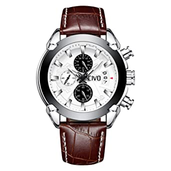607fd8bf8 CIVO Mens Watches Black Brown Chronograph Multifunctional Waterproof Date Calendar  Wrist Watch for Men Teenager Boys