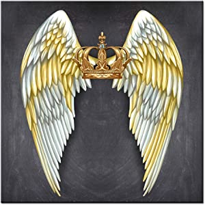 LevvArts Modern Canvas Wall Art Decor Fashion Angel Wings with Golden Crown Painting Picture Print Contemporary Artwork for Living Room Bedroom Wall Decoration Framed Ready to Hang Gift for Woman