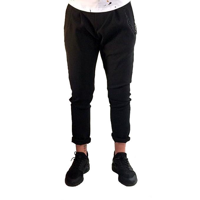 8222aef3ca9da7 Pantaloni Uomo Elegante Nero Cavallo Basso alla Caviglia Estivo Capri  Classico Jeans Chino alla Turca Tuta