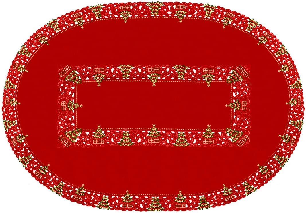 Grelucgo Embroidered Christmas Holiday Holly Tree Napkins 4 Pieces 12 /× 12 Inches Napkins
