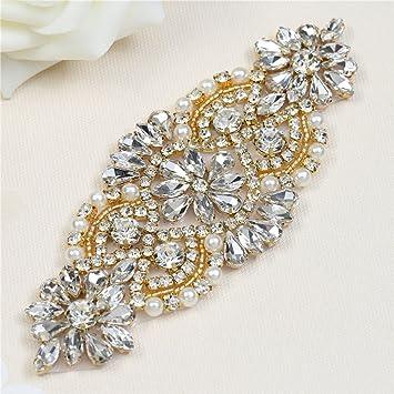 Muti Farben Rhinestone Applique f/ür Bridal Sash mit Bling Atemberaubende Kristalle Easy DIY durch N/ähen oder Hot Fix AB Crystal