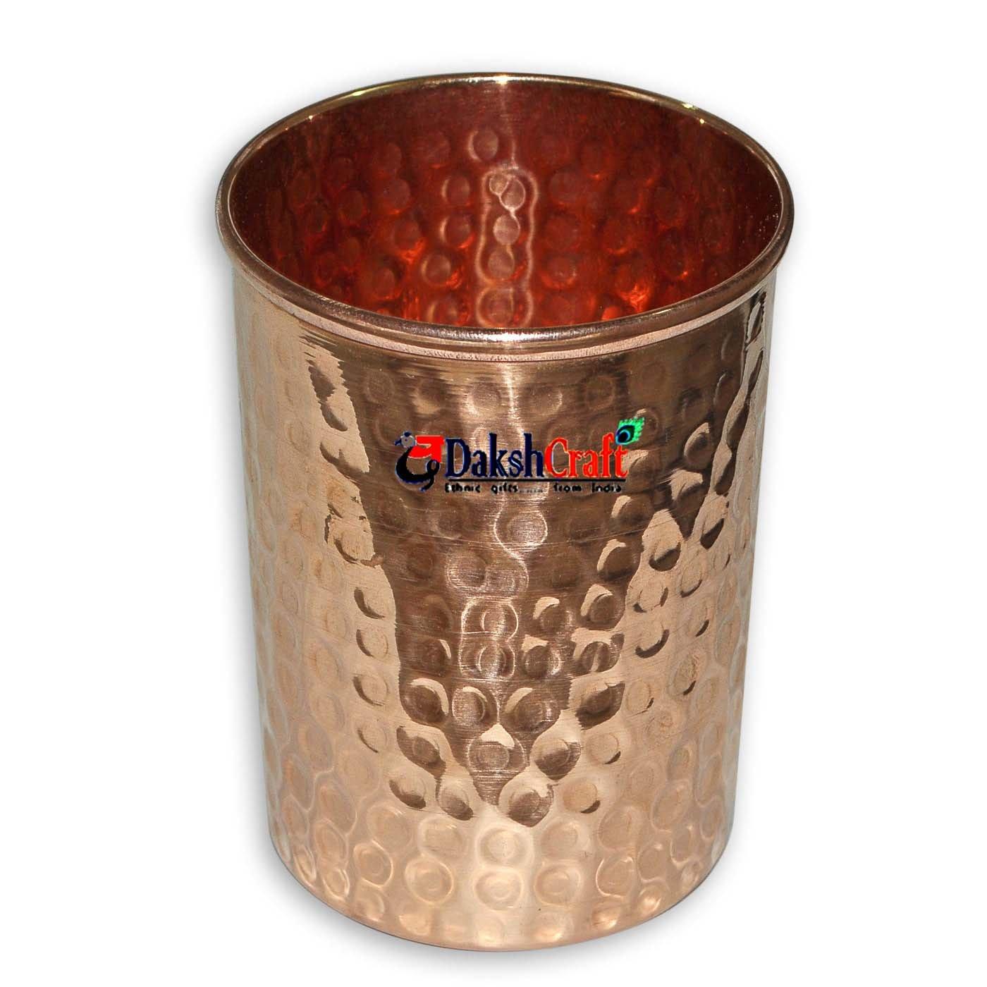 Dakshcraft Handmade Pure Copper Hammered Tumbler