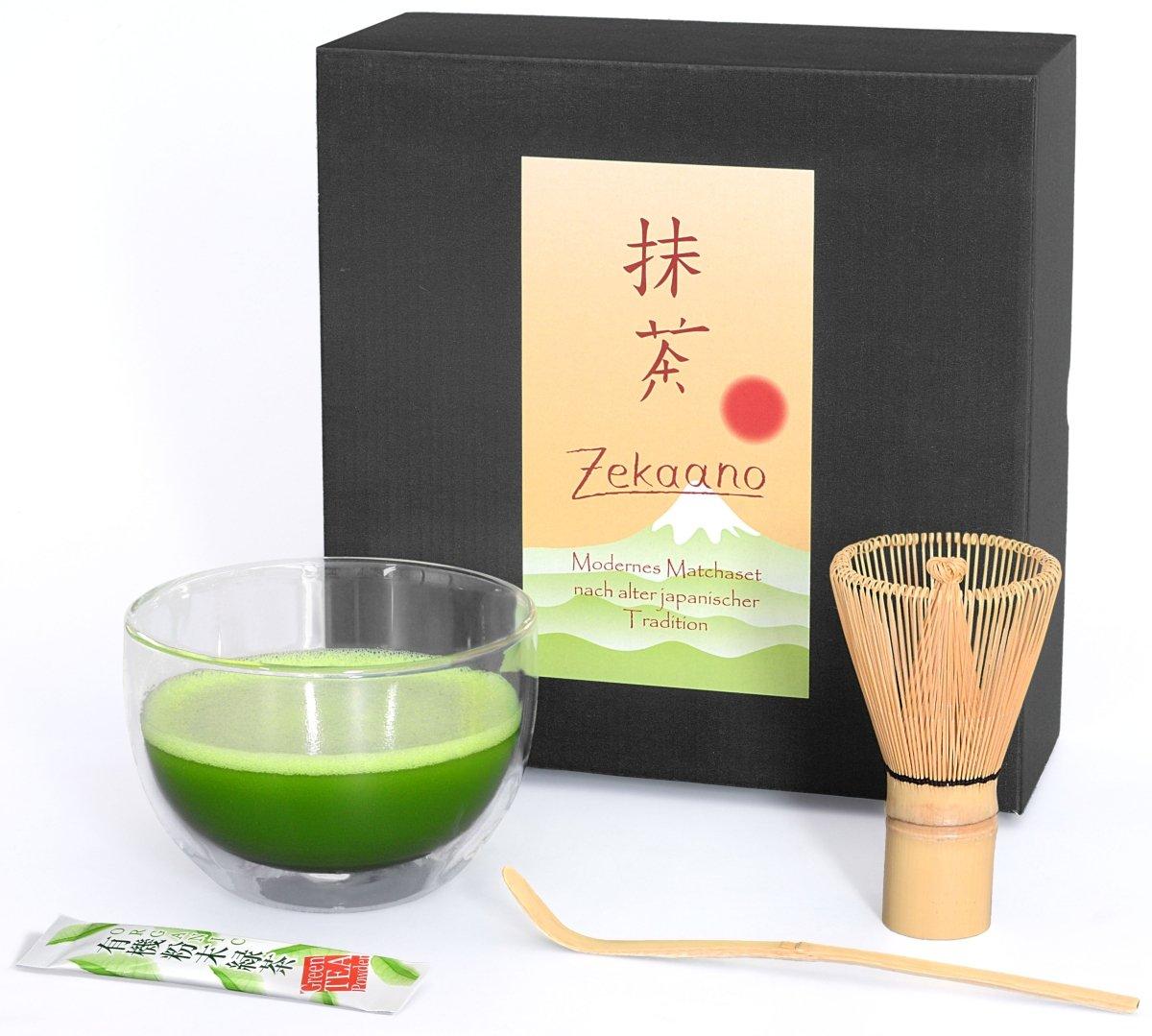 Aricola® Matcha 3-Piece Set, 400-ml Double-Walled Thermal Glass, Matcha Bowl, Matcha Bamboo Spoon, Matcha Bamboo Brush in Gift Box