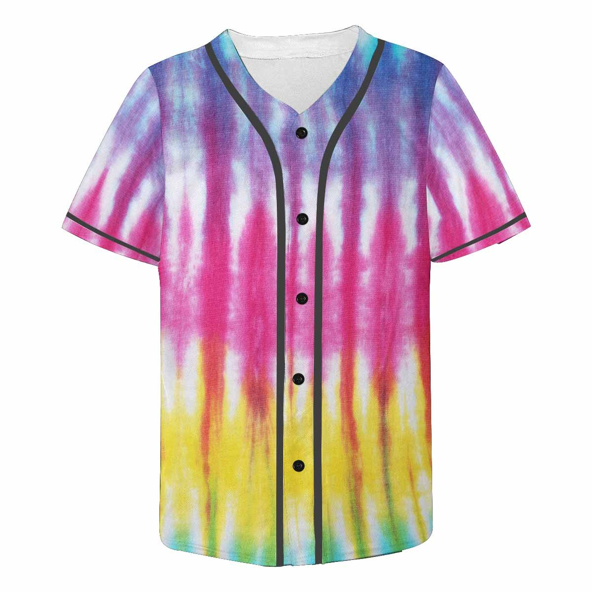 INTERESTPRINT Mens Button Down Baseball Jersey Tie Dyed Fabric Background