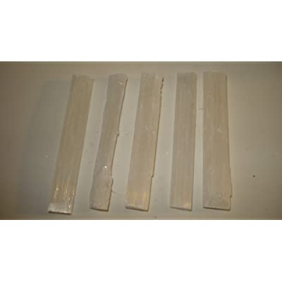 "5pc 3"" Raw Selenite Hand Cut A-Grade Sticks Sticklets 100% Natural Healing Crystal Gemstones: Toys & Games"