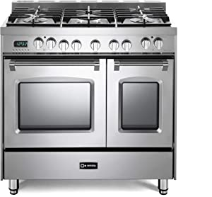 Verona Prestige VPFSGE365DSS 36 inch Dual Fuel Range 5 Sealed Burners Double Oven Convection Storage Drawer Stainless Steel