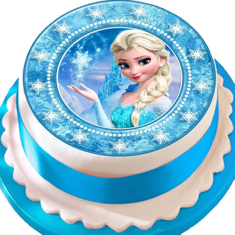 Stupendous Frozen Elsa Star Border Birthday Precut Edible Icing Cake Topper Funny Birthday Cards Online Elaedamsfinfo