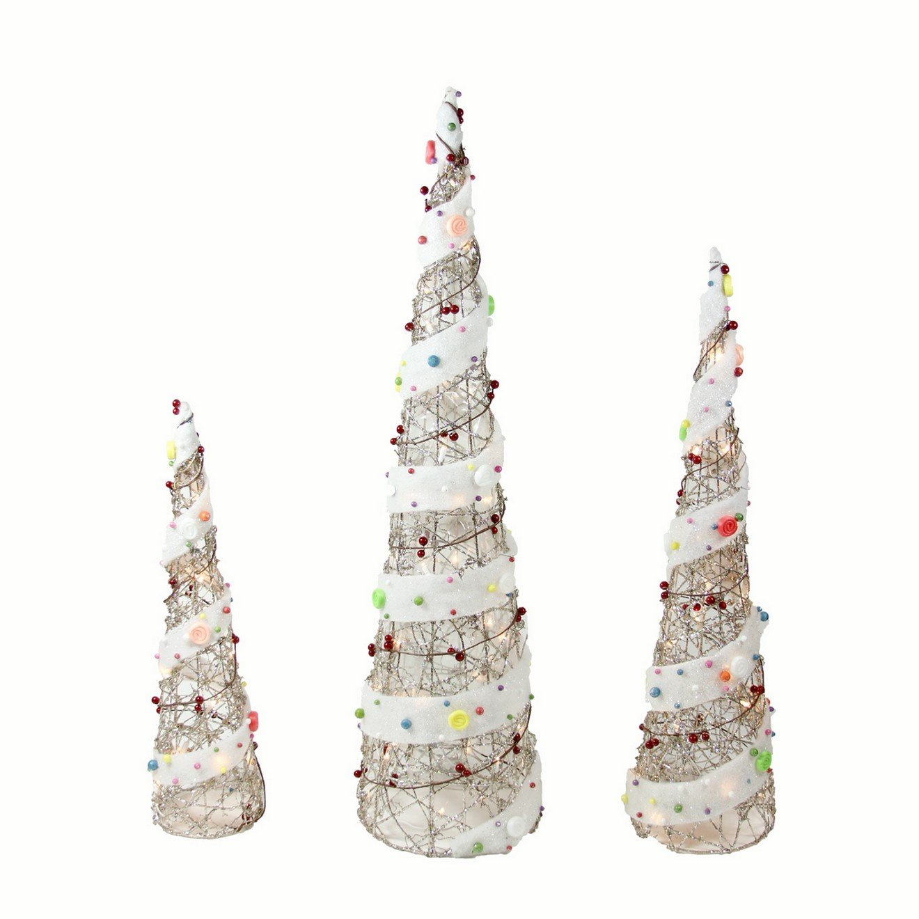 Northlight Lighted Champagne Gold Rattan Candy Covered Cone Tree Christmas Yard Art Decorations, Set of 3, 39.25''
