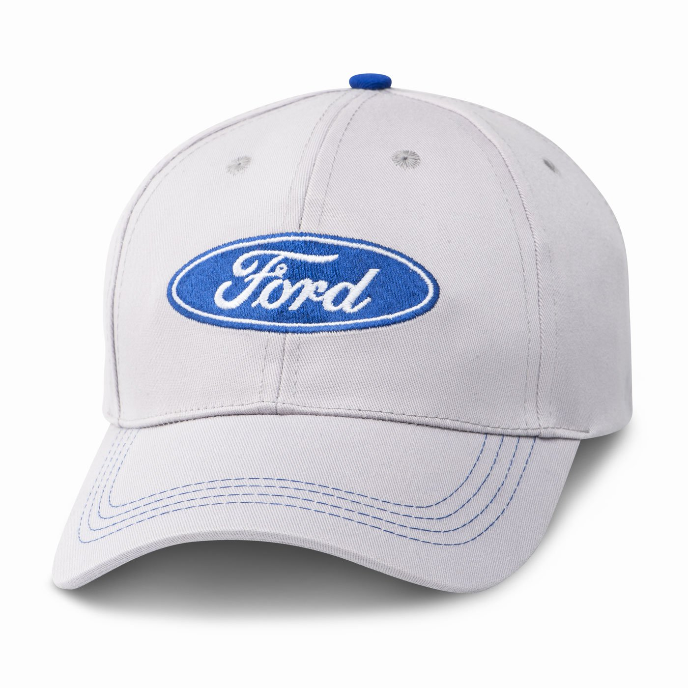 One Size Fits Most Ford Oval Logo Light Gray Baseball Cap Black