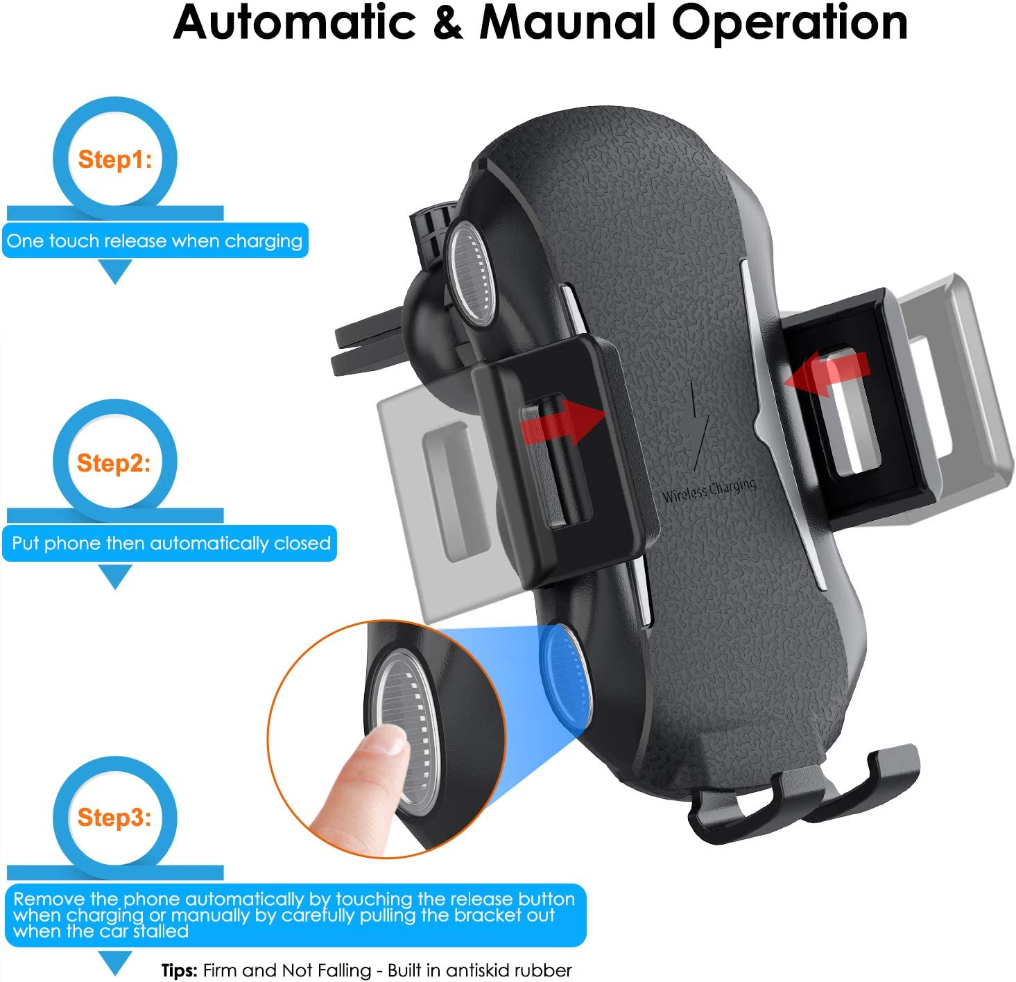 10W Qi Fast Charging Car Mount Auto Clamping Windshield Dash Air Vent Phone Holder Compatible iPhone 11//11 Pro//11 Pro Max//Xs MAX//XS//XR//X//8//8+,Samsung S10//S10+//S9//S9+//S8//S8+ Wireless Car Charger
