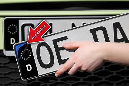 2 pegatinas adhesivas para cubrir la banda azul de la matrícula de la UE, versión alemana, color negro: Amazon.es: Coche y moto