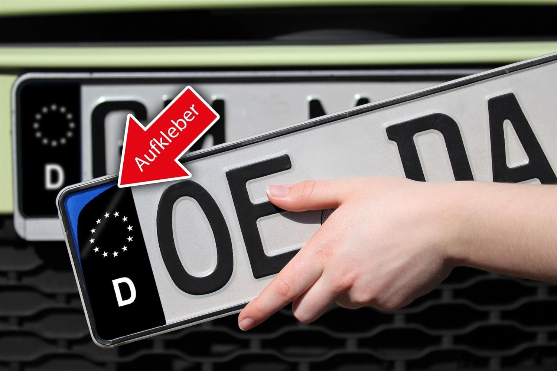 Nummernschild Kennzeichen Aufkleber EU Feld in Schwarz überkleben ...