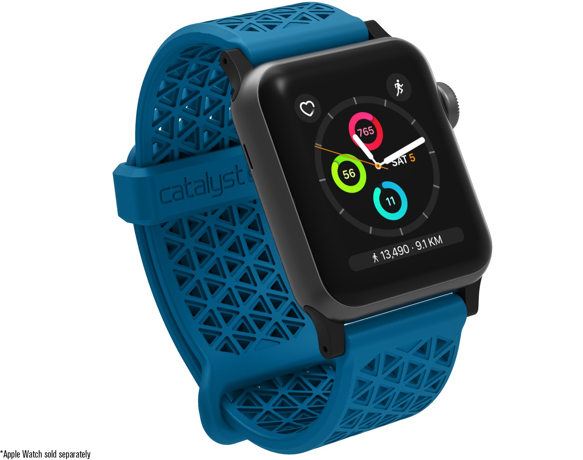 Catalyst Compatible with Apple Watch Band 40mm 38mm, Quick Release Silicone Hypoallergenic Sport Band 22mm for Apple Watch Series 4, Series 3, Series 2, Series 1 - Blueridge/Sunset