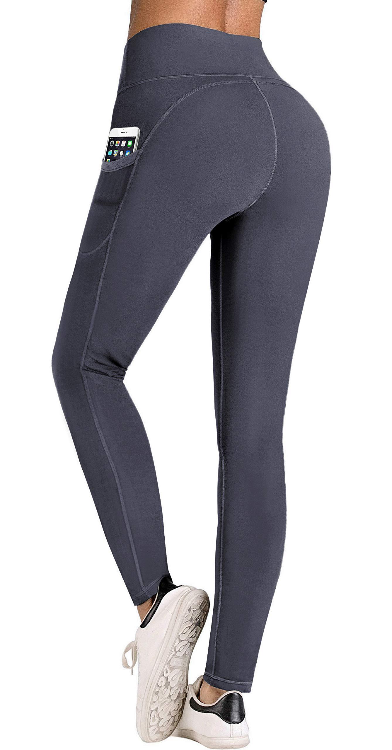 IUGA High Waist Yoga Pants Shorts with Pockets Tummy Control Workout Yoga Shorts Side Pockets (7840 Gray, X-Small)