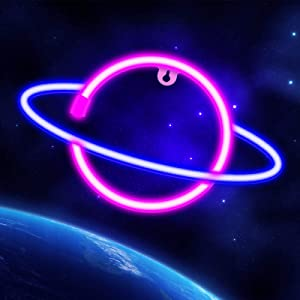 Neon Signs Lights for Wall Decor, USB or Battery Decorative Pink/Blue Planet Neon Sign LED Night Light for Bedroom, Valentine's Day, Christmas, Living Room, Kids Room (A-Blue/Pink)