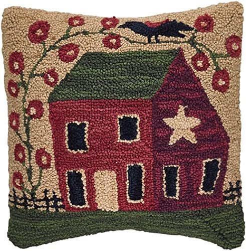 Park Designs 18 Inches Polyester Fill Red House Hooked Pillow Set Home Decor