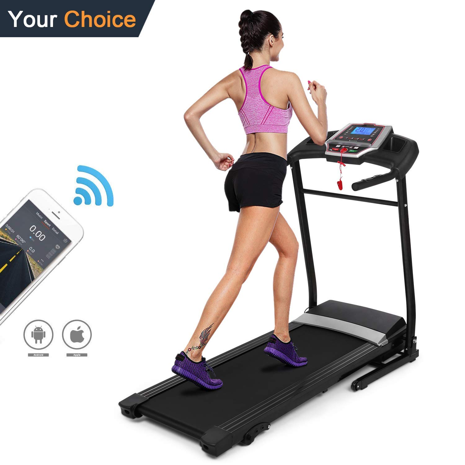 Yiilove Folding Treadmill, Electric Motorized Treadmill Machine with Incline for Home/Office Exercise [US Stock](2.25 HP - Black)