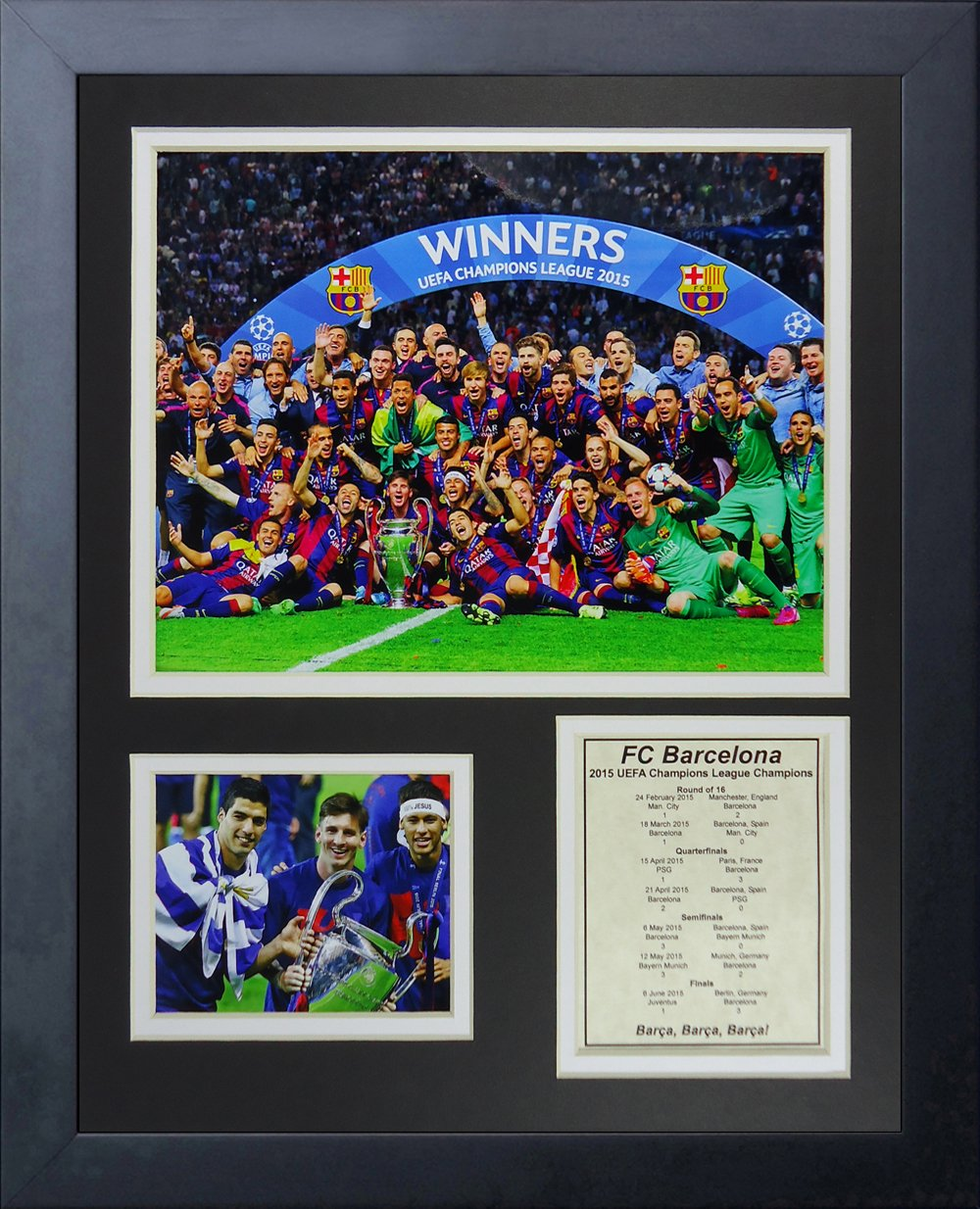 Legends Never Die FC Barcelona 2015 UEFA Champions League Winners Collage Photo Frame, 11'' x 14'' by Legends Never Die